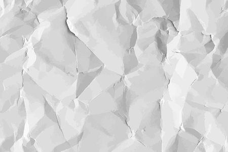 White crumpled paper textured background vector Illustration