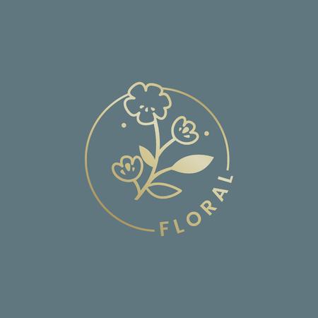 Botanical floral rose badge vector
