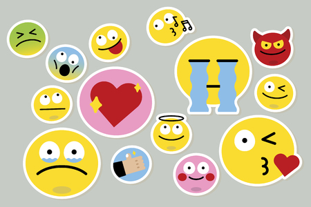 Emoticon facial expression collection vector Vettoriali