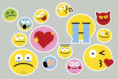 Vettore di raccolta di espressioni facciali di emoticon Vettoriali