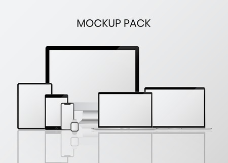 Digital modern devices mockup pack  イラスト・ベクター素材