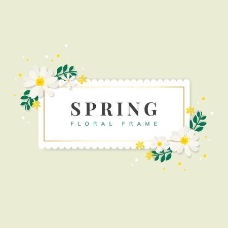 Spring floral frame design vector Çizim