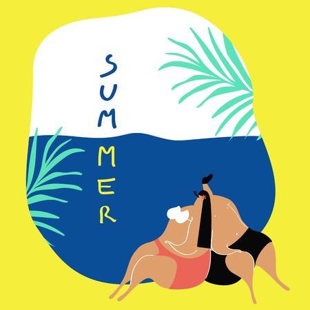 Couple enjoying their summertime vector Ilustrace