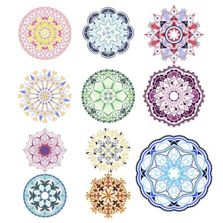 Colorful mandala patterns set on white background Stock Illustratie