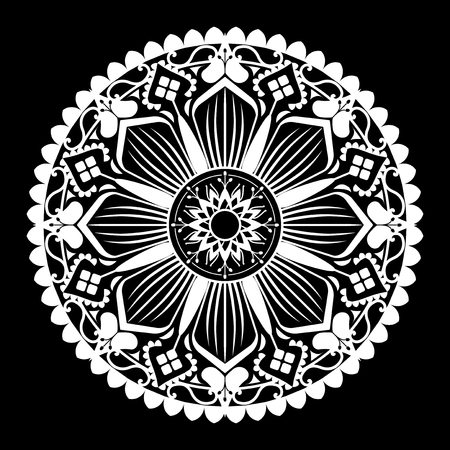 White mandala pattern on white background Stock Illustratie
