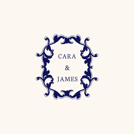 Vintage baroque wedding invitation design 일러스트