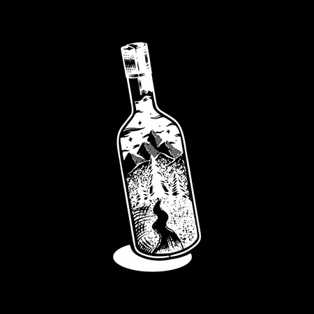 Adventure and wanderlust concept graphic illustration vector Ilustração