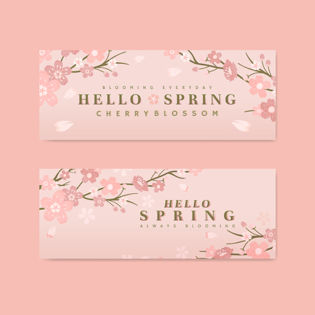 Pink cherry blossom banner vector