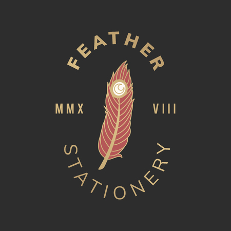 Feather stationery vintage logo vector