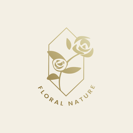 Floral nature rose badge vector