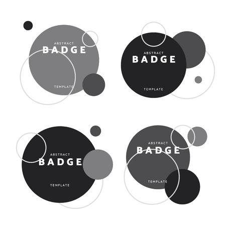 Black and white circle geometric pattern badge vectors set Ilustração