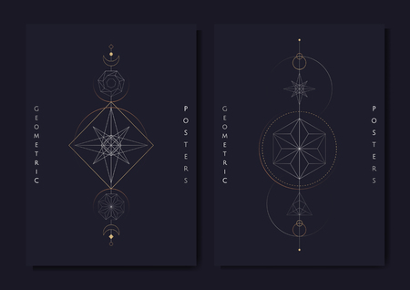 Geometric mystic symbols vector set