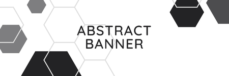 Black and white hexagon geometric pattern banner vector