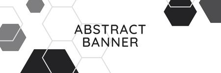 Vettore di banner con motivo geometrico esagonale in bianco e nero