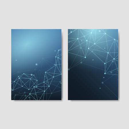 Blue neural texture abstract set vector Ilustração