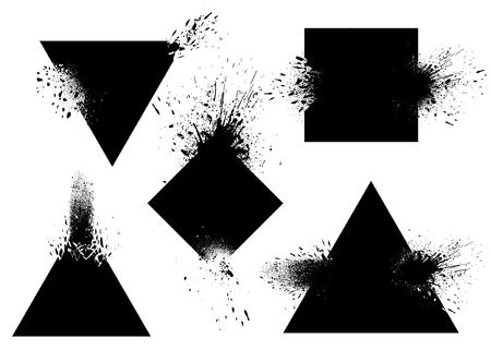 Set of badges with ink splashes vector Reklamní fotografie - 118927714