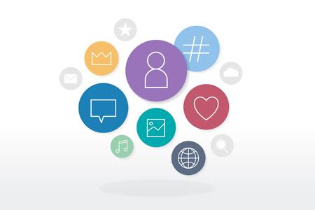 Social media icons in speech bubbles vector Çizim