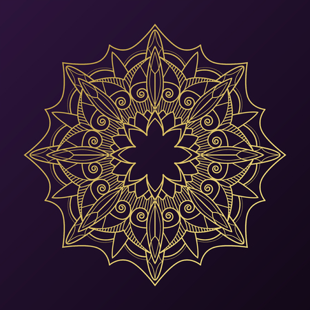 Geometrical gold mandala pattern on purple background