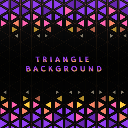 Colorful triangle patterned on black background 向量圖像