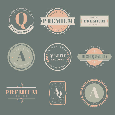 Vintage premium badge set vectors