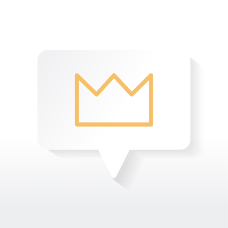Yellow crown icon in a white speech bubble vector Illustration