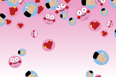 Cute love emoticon collection vector