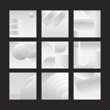 Silver geometric abstract patterned banner vectors set Ilustracja
