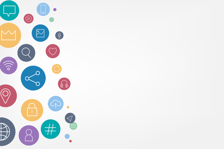Colorful social media icons background vector Ilustração