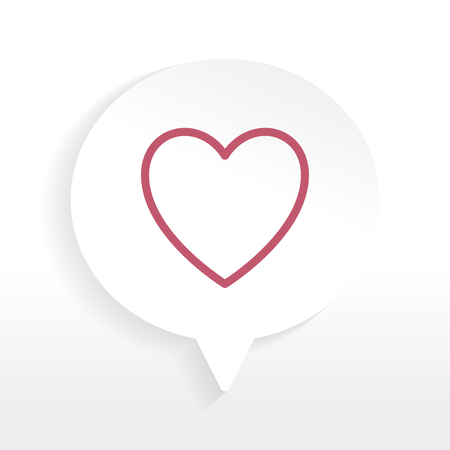 Red heart in a white speech bubble vector Illustration