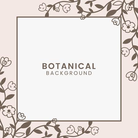 Vettore incorniciato quadrato botanico marrone