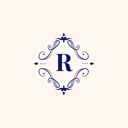 Vintage baroque R badge design