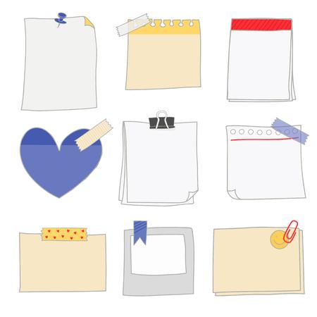 Opmerking papers doodle stijlenset vector Vector Illustratie
