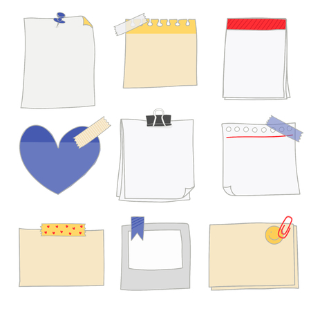 Papiers à notes doodle jeu de vecteurs de style Vecteurs