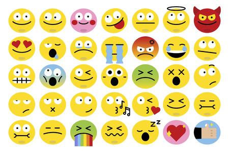 Emoticon facial expression collection vector Illustration