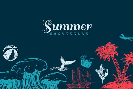 Summer themed border background vector