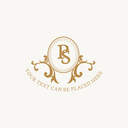 Vintage style baroque badge vector Stockfoto - 118913723