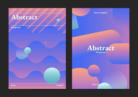Bluish geometric abstract patterned poster vectors set