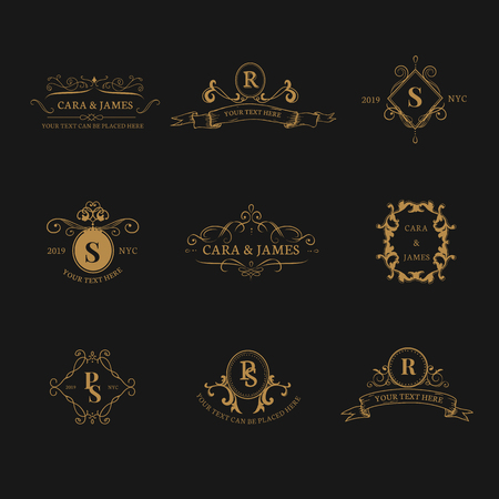 Vintage baroque badge design set Stock Vector - 118913735