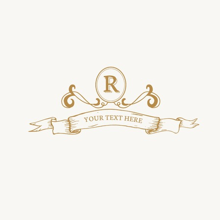 Diseño de insignia barroca vintage R Ilustración de vector