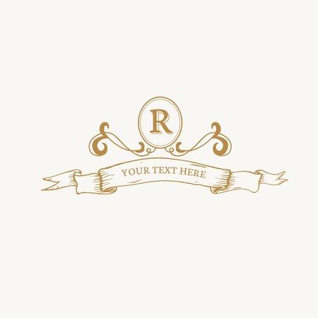 Vintage baroque R badge design Vector Illustration