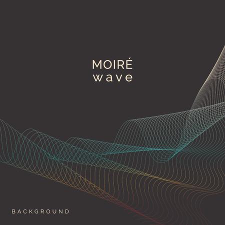 Blue and orange moiré wave on black background