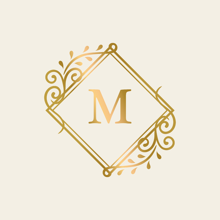 Golden framed vintage logo vector