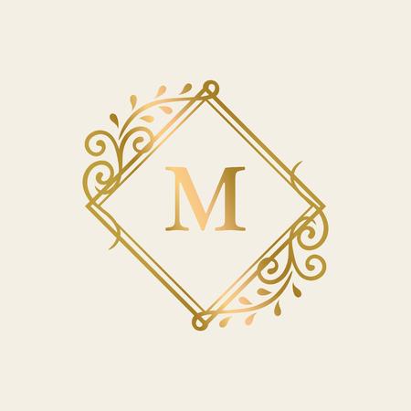 Golden framed vintage logo vector