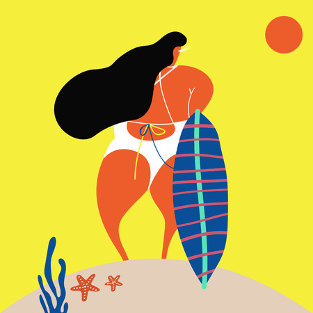 Female character with a surfboard in summertime vector
