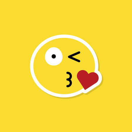 Face with a blowing kiss vector Illustration