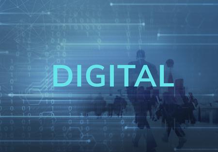 Digital business people in the blue Banco de Imagens