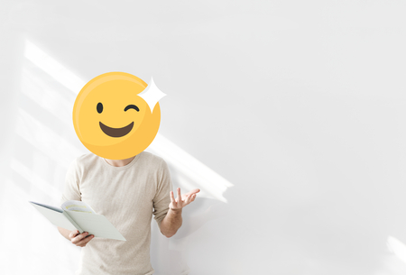 Winking face emoji portrait on a teacher
