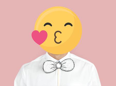 Blowing a kiss emoji portrait on a man