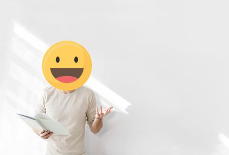 Happy face emoji portrait on a teacher Imagens