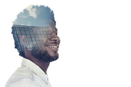 Cheerful black man with a creative idea